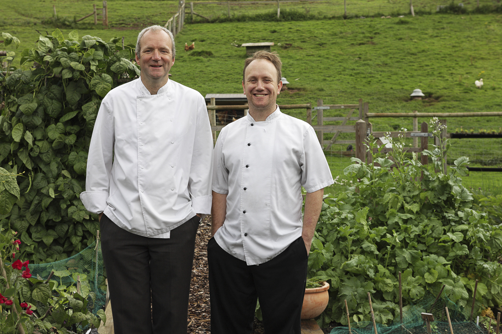 Chef Lecturer Lawrence Jefferies (left) and Tudor Farmhouse Hotel Head Chef Martin Adams (right).