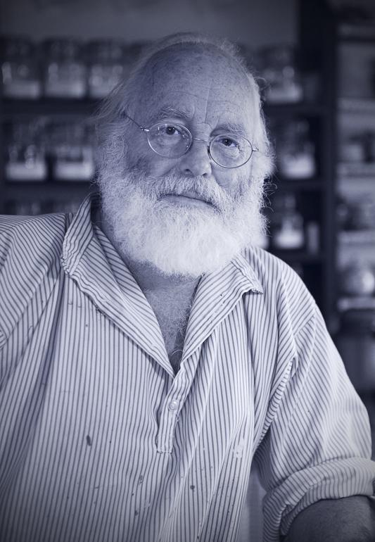A black and white photo of Old Ned