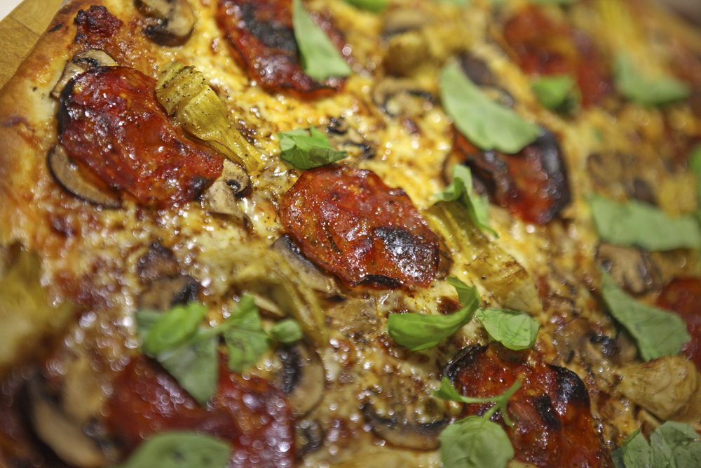 Some gorgeous Homemade mushroom and pepperoni pizza - perfect with the rich red Cabernet Franc!