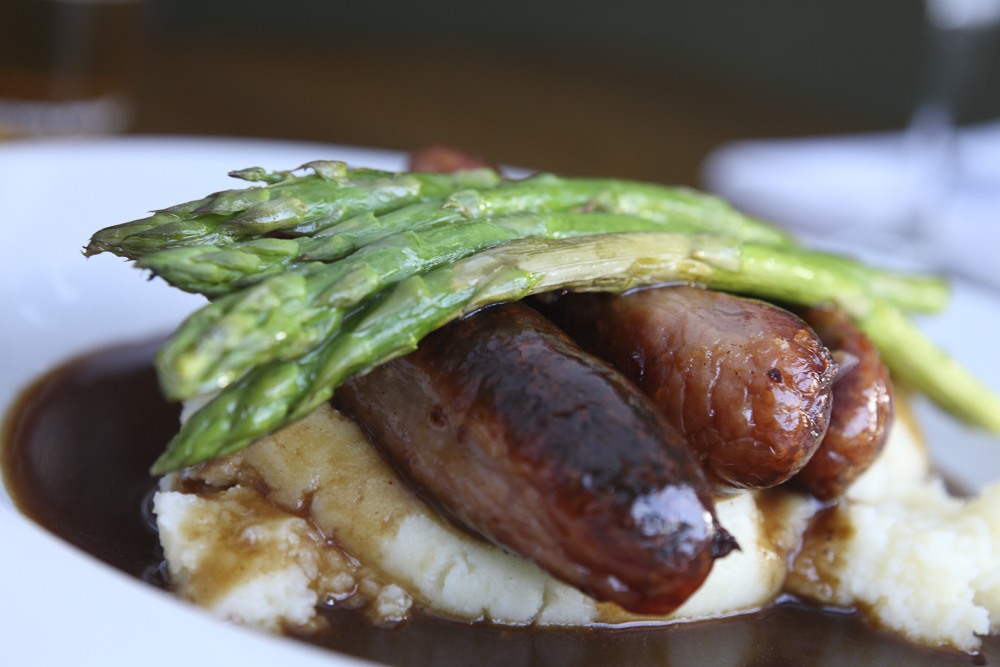 Sausages, asparagus, mash and gravy from the Miners Arms, Whitecroft,